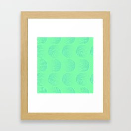 Blue Dot Circles on Green Background Framed Art Print