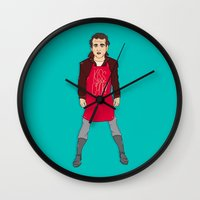 murray Wall Clocks featuring Grill Murray  by Chelsea Herrick