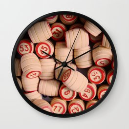 wooden crock of Russian lotto scattered Wall Clock