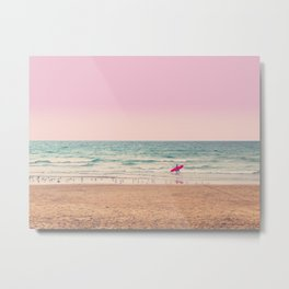 Surfer heads out Metal Print