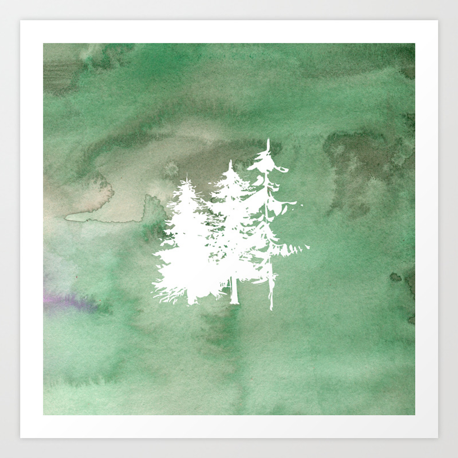 hand painted forest green white watercolor pine trees art print by pink water society6 hand painted forest green white watercolor pine trees art print by pink water