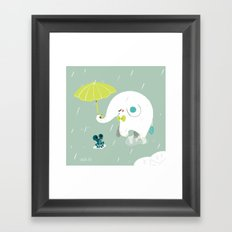 Rainy Elephant Framed Art Print