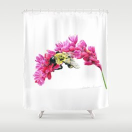 Bumble Me Pink by Teresa Thompson Shower Curtain
