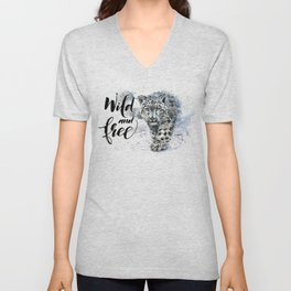 Snow leopard Wild and Free Unisex V-Neck