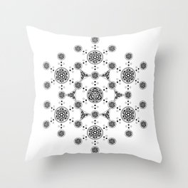 molecule. alien crop circle. flower of life and celtic patterns Throw Pillow
