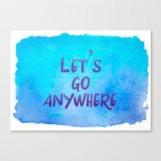 Let's go Anywhere - Boho Wanderlust Watercolor Canvas Print