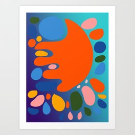 Joyful Abstract Art Shapes in Blue Night Gradient Art Print