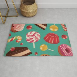 Kitschy and Colorful Candy Pattern on Aqua Rug