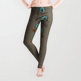 Mid Century Modern Dandelions on brown Leggings