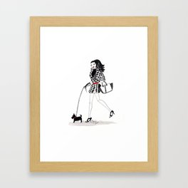 Houndstooth and a Scottie Watercolor Fashion Illustration Framed Art Print