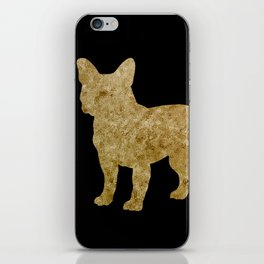 Golden Frenchie on black iPhone Skin