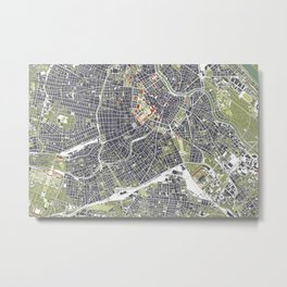 Vienna city map engraving Metal Print