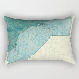 California State Map Blue Vintage Rectangular Pillow
