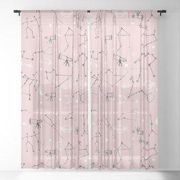 Astrology Pattern Pink #homedecor Sheer Curtain