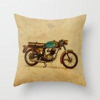 ducati Throw Pillows featuring Ducati 125 Aurea 1958 by Larsson Stevensem