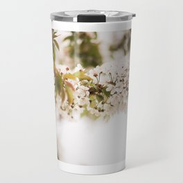 Blooming tree with white flowers close up Travel Mug