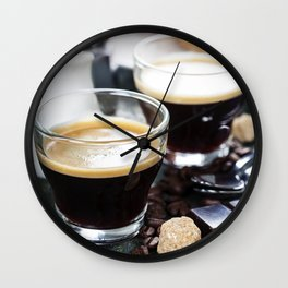 Breakfast with coffee and croissants Wall Clock