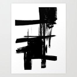 Black Brush Strokes Modern Minimalist Abstract Painting Art, nr 12 Art Print