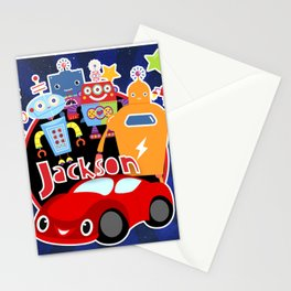 Jax-Red Car + Robots Stationery Cards
