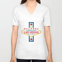 las vegas V-neck T-shirts featuring Las Vegas by Fimbis
