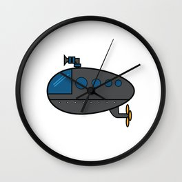 A Cute Illustration Of A Gray Submarine Underwater Sea Ocean Navy Submariner Snorkeling Air Bubbles Wall Clock