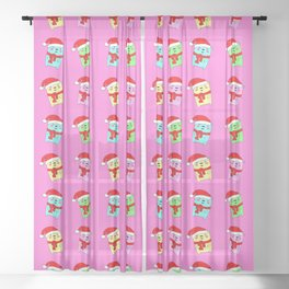Christmas baby bears with a red Santa Claus hat pink pattern. Nursery decor Sheer Curtain
