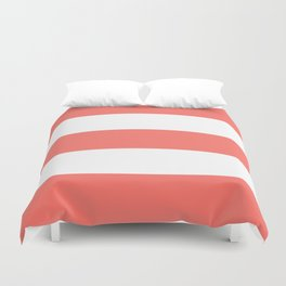 Thick Bold Living Coral and White Stripes Pattern Duvet Cover