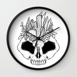 GROW - Succulents in a skull Wall Clock