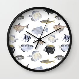 Fish Pattern - Blue & Gray Watercolor Theme Wall Clock