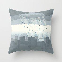 Rain in the city Throw Pillow