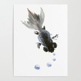 Black Fish, feng shui zen brush minimalist ink art design Poster