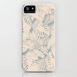 Tropical Plants in Ivory and Vintage Blue iPhone Case