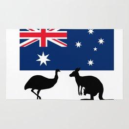 Australian Flag with Emu and Kangaroo T-Shirt Rug