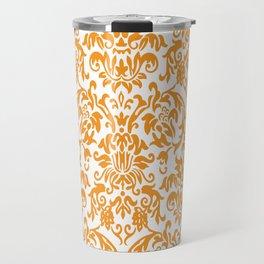 Elegant Damask Pattern (orange) Travel Mug