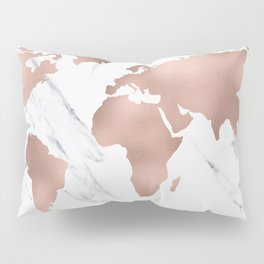 Marble World Map Rose Gold Pink Pillow Sham