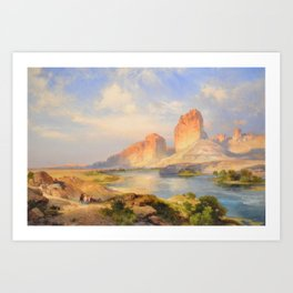 Red Sandstone Cliffs of the Upper Colorado River (Green River, Wyoming) landscape by Thomas Mann Art Print
