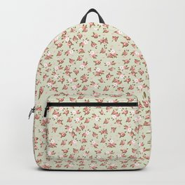 Shabby Chic Roses on Green Backpack