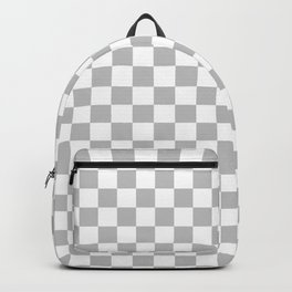 White and Gray Checkerboard Backpack
