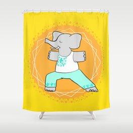 Yoga elephant - warrior pose Shower Curtain