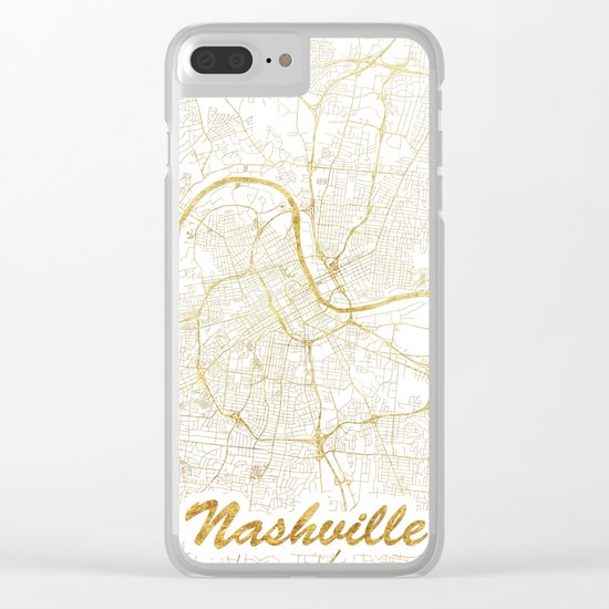 Nashville Map Gold Clear iPhone Case