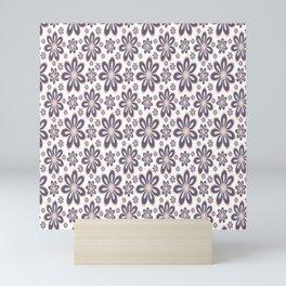Purple, Pink, White Floral Pattern Mini Art Print