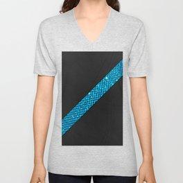 Elegant simple black leather blue gems stripe Unisex V-Neck
