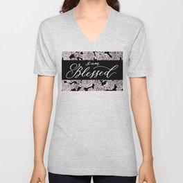 I am Blessed Florals Unisex V-Neck