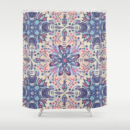 Protea Pattern in Blue, Cream & Coral Shower Curtain