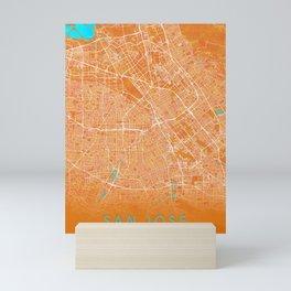 San Jose, CA, USA, Gold, Blue, City, Map Mini Art Print