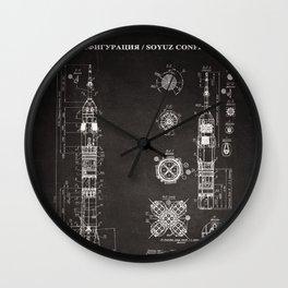 Soyuz Blueprint in High Resolution (black) Wall Clock