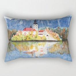 Church of the Assumption in Lake Bled Slovenia Rectangular Pillow