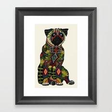 pug love ivory Framed Art Print