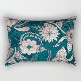 Artsy Modern Rose Gold Emerald Green Flowers Rectangular Pillow