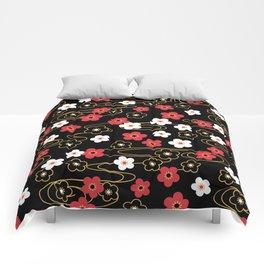 Black Sakura Kimono Pattern Comforters
